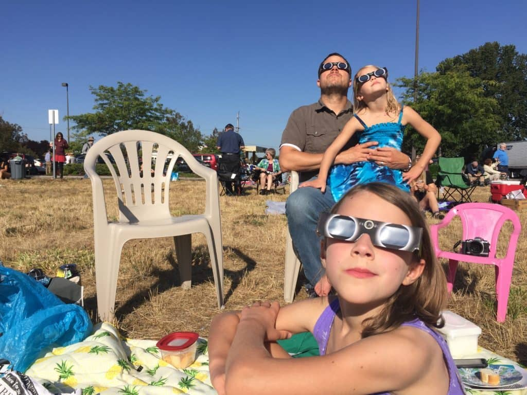 my family watching the eclipse