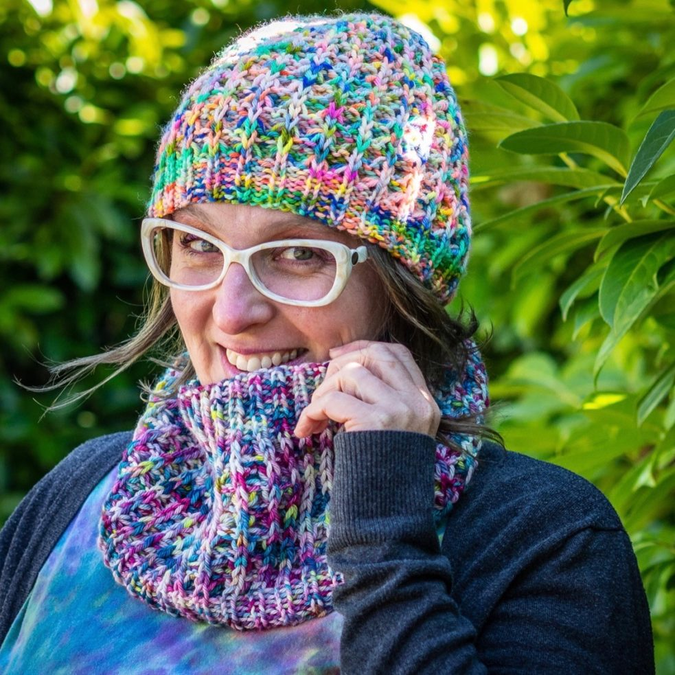 Squishiest Ever hat and cowl from the front