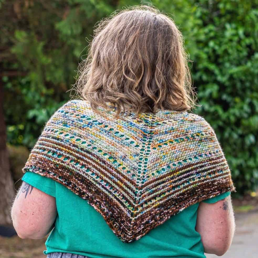 triangular shawl worn across shannon's back