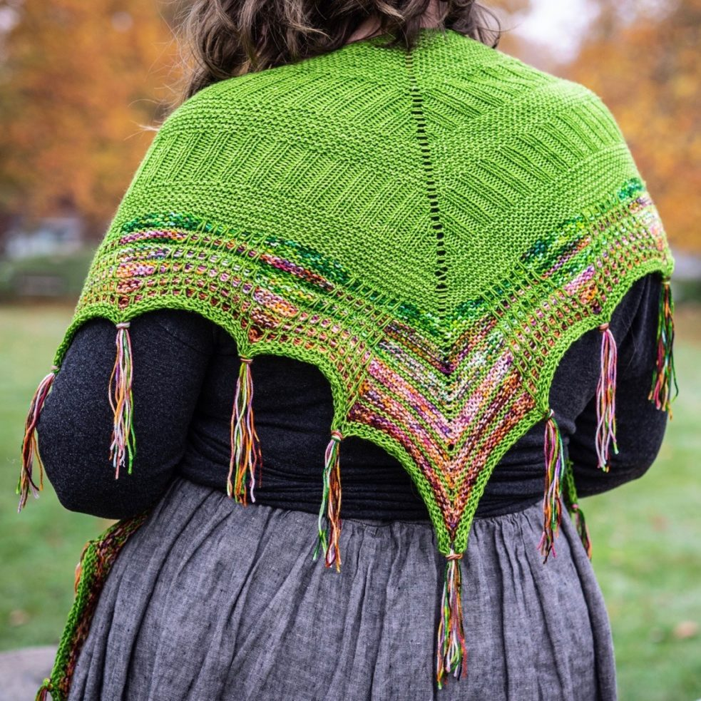 photo of the back of witchy woman over worn over shoulders to show patterning