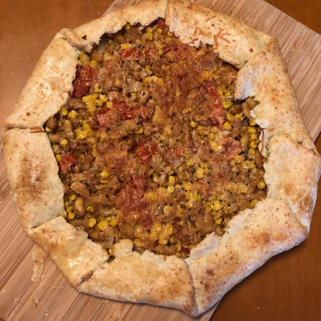 homemade galette, with corn and tomatoes